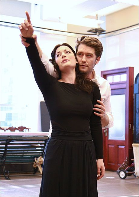 Laura Michelle Kelly and Matthew Morrison rehearsing to play J.M. Barrie and Sylvia Llewelyn Davis in Finding Neverland on Broadway