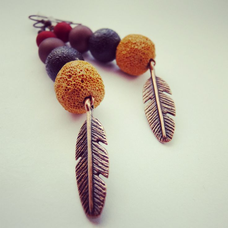feather earrings-handmade with lava BY SHARYS