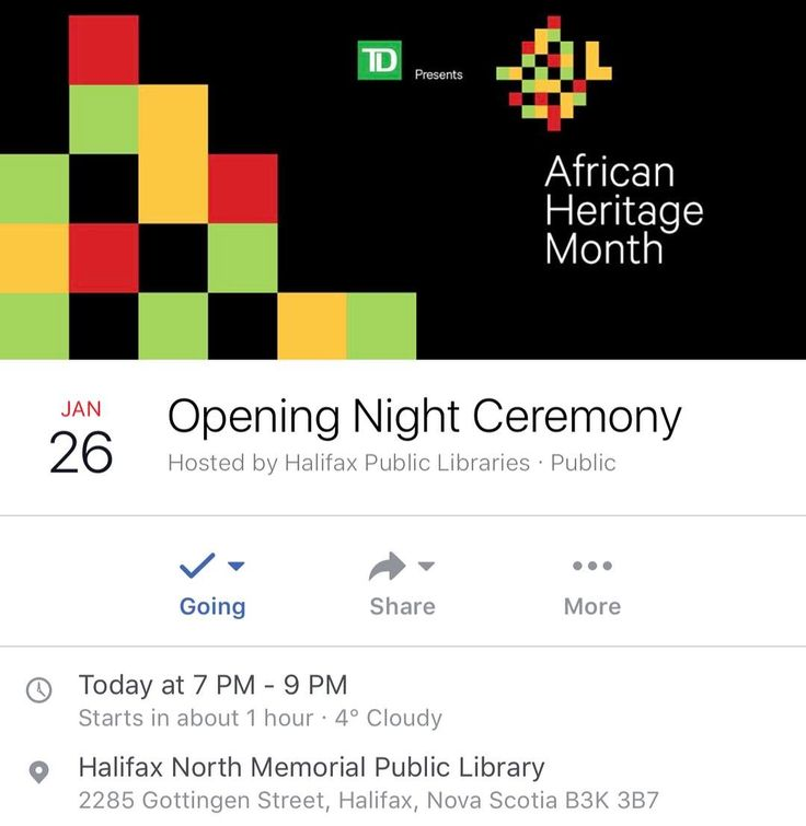 TONIGHT. 7pm. @hfxpublib (Gottingen Street) ... In partnership with the Black History Month Association and our community we are excited to celebrate African heritage throughout the month of February and year-round. African Heritage Month 2017 at Halifax Public Libraries is made possible by the generosity of TD Bank Group.  Celebrate the beginning of what is sure to be a fantastic month at our annual Opening Night Ceremony. Join us for musical entertainment story-sharing and greetings from…