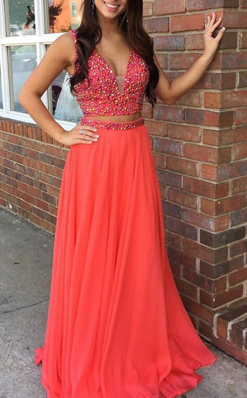 sexy two piece prom dresses, beaded 2 piece prom dresses, coral sexy two piece prom gown, new arrival prom dresses 2 piece, cheap prom dresses for women