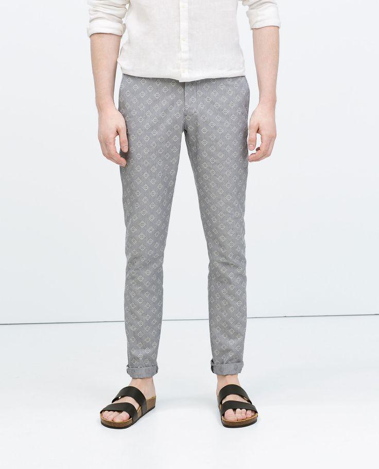 Pantaloni grigi jacquard