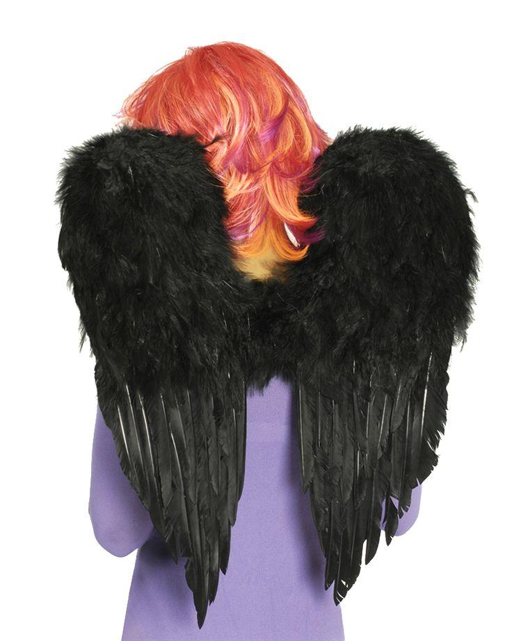 Schwarze Federflügel - Engelsflügel für bizarre und dunkle Kostümideen zu Halloween oder Karneval.