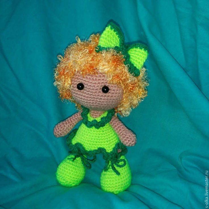 Купить Куколка вязаная Рыжик кукла игрушка Рыжая Неоново-зеленый Загар Отдых