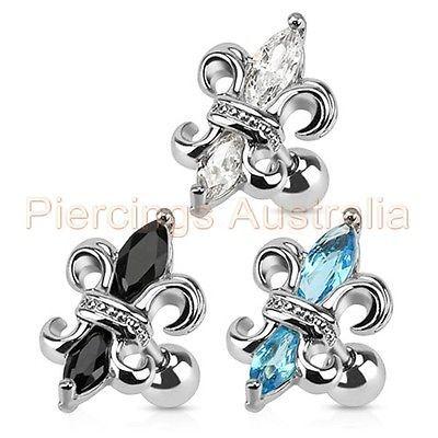 16G Fancy Gem Cartilage Tragus Bar Ear Ring Piercing Stud Body Jewellery