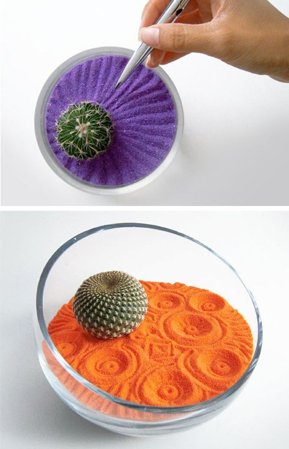 Fun way to add some color to indoor gardens.