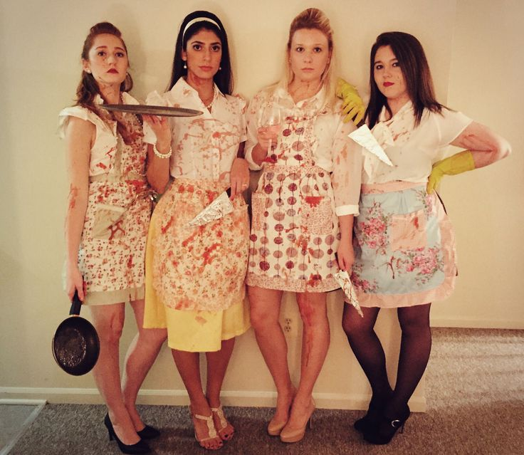 Halloween Costume, DIY Murderous Housewives, College Costumes, Killer wives, housewife, girl group costume, cheap Halloween costume, Murderous Housewives Costume, Bloody Housewives