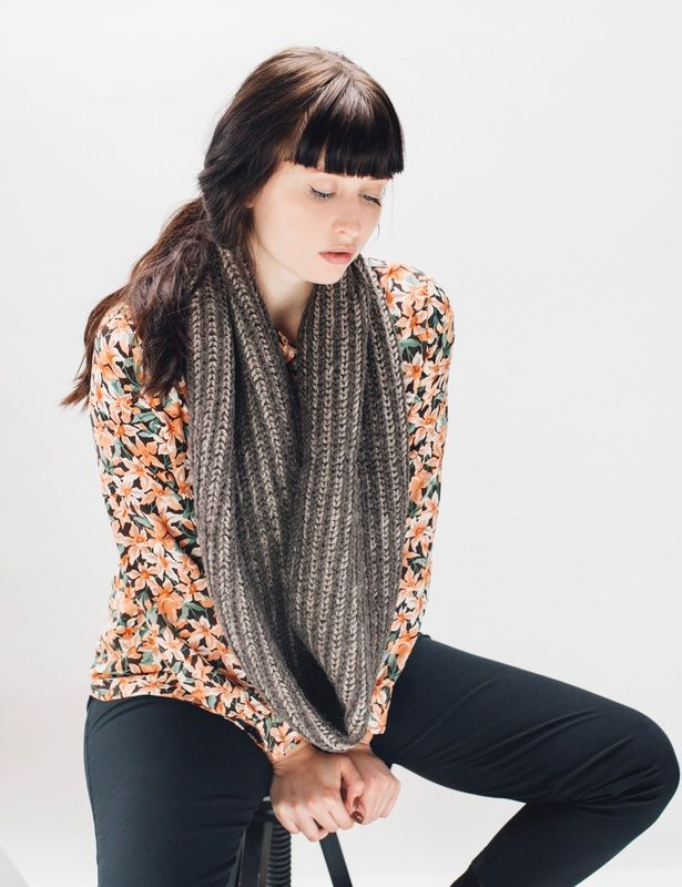 OMBRÉ Stripe infinity scarf in clay is hand knit with 100% Peruvian highland wool