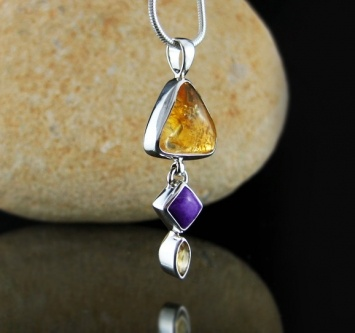 Citrine (Brazil) and Sugilite (Africa) .925 Sterling Silver combination pendant