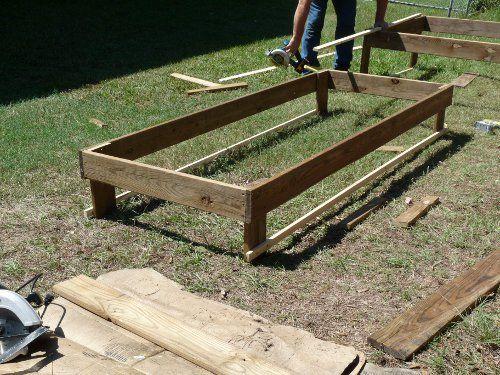 Raised bed frame 25 pinterest for Raised full bed frame