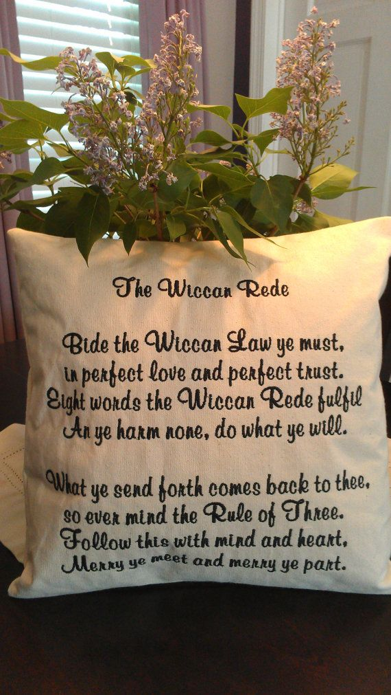Wiccan Pagan Pillow The Wiccan Rede canvas pillow professionally embroidered choose your thread color via Etsy