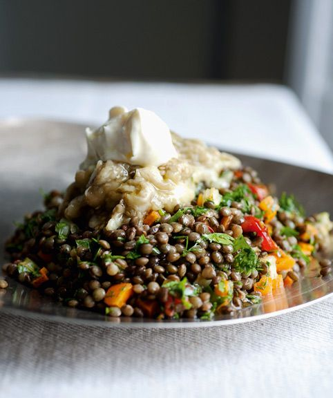 Lentils with broiled eggplant (from Ottolenghi's cookbook Plenty; eggplants, red wine vinegar, dark lentils, carrots, celery, bay leaf, thyme, white onion, olive oil, cherry tomatoes, brown sugar, parsley, cilantro, dill, crème fraîche)