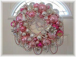 lovlieHoliday, Christmas Wreaths, Pink Christmas, Shabby Chic, Vintage Ornaments, Christmas Decor, Christmas Ideas, Pink Wreaths, Ornaments Wreaths