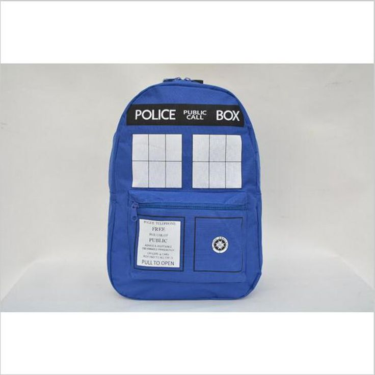 Fashion hot selling Doctor Who Tardis cartoon student school bag work bags men Police Box Backpacks