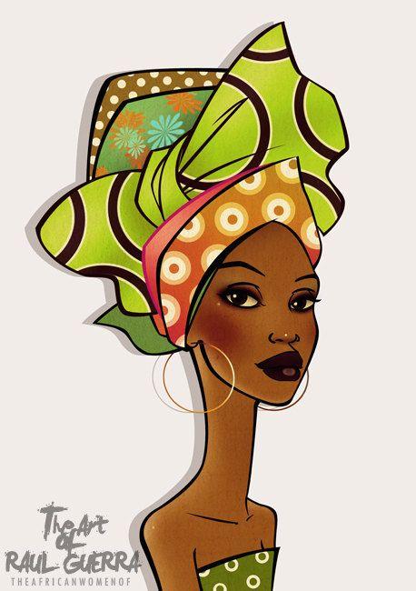 African Woman postcart Art print A5. Raul Guerra.