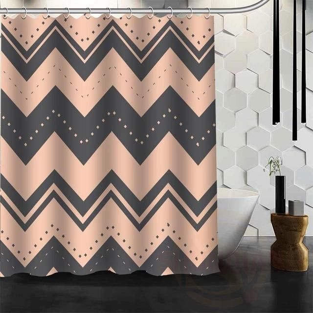 Colorful Chevron Print Waterproof Fabric Shower Curtain