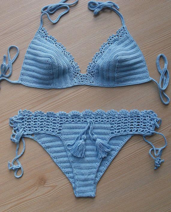 Crochet Sea Blue Sexy Bikini Women Swimwear Beach by formalhouse