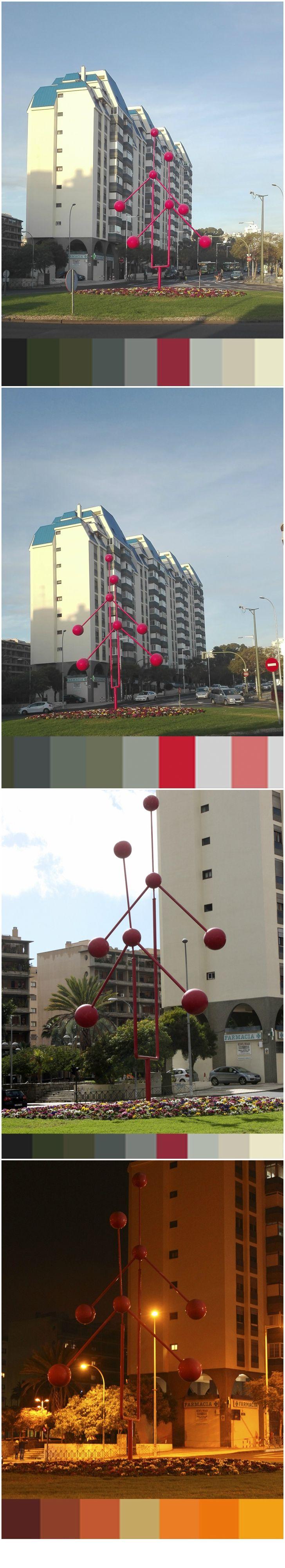 'Móvil' es una obra del escultor Sobrino Ochoa, uno de los creadores del movimiento óptico-cinético del siglo XX, cuyas obras de grandes volúmenes se exponen en espacios públicos urbanos de todo el mundo. La escultura, realizada en hierro pintado en 1973, se encuentra en la plaza de la República Dominicana. La obra tiene 12 metros de altura y es una muestra del arte constructivo.  Fotografías tomadas a las 8:00, 11:00, 15:45 y 19:45 respectivamente (collage) por Desiré Méndez y Aleida…