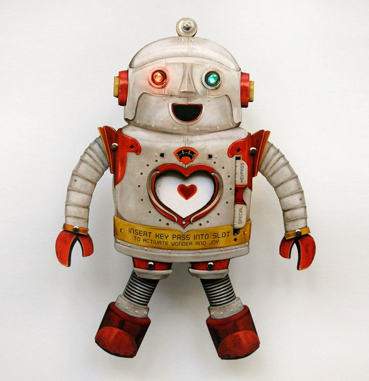 Electric LOVE Robot Paper Toy with blinking LED lights, via Etsy.