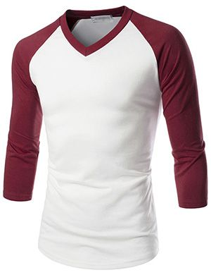(NKR7T621) TheLees Prime Unisex Slim Fit 3/4 Raglan Sleeve V-Neck T-shirts