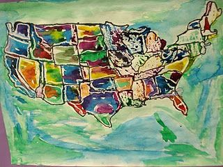 Jasper Johns art lesson idea...I don't love the idea of kids tracing an entire map, though.  Maybe a state stencil, or even have the kids create their own country.  Hmm...
