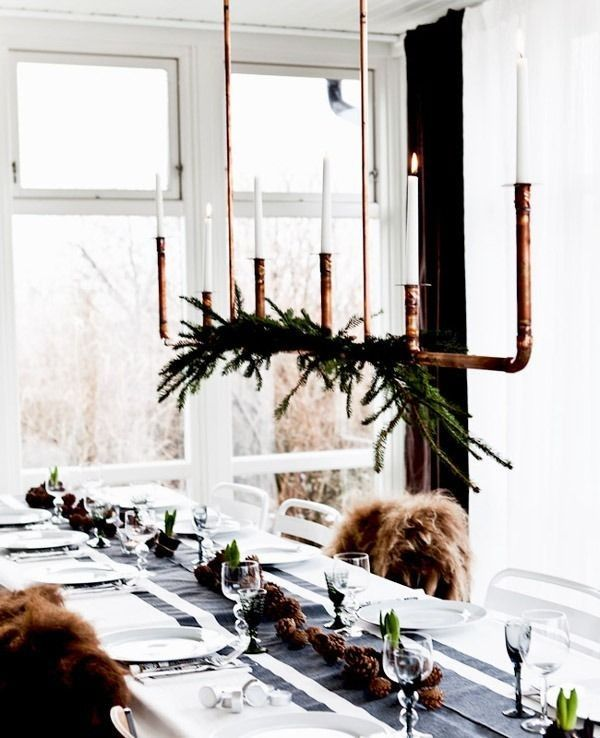 Hanging light made from simple copper tubing easy to dress up with boughs or garlands christmas decorating