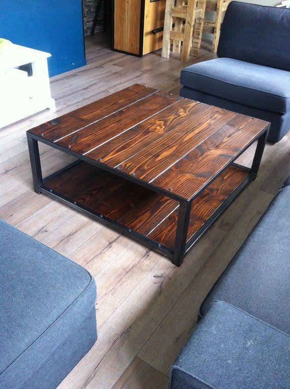 Table Basse Industrielle Bois Et Metal Teinte Brou De Noix Coffee Table Pallet Coffee Table Table