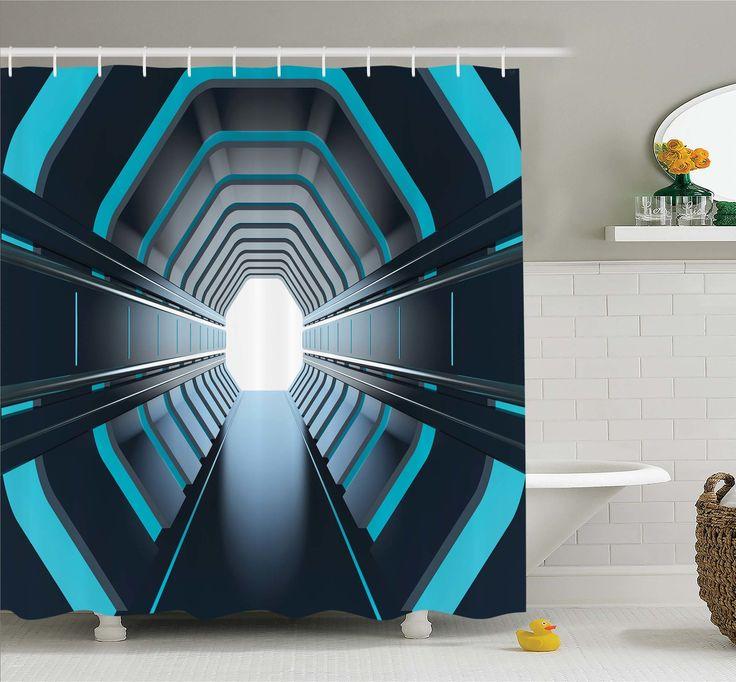 Outer Space Tunnel with Neon Lights Passage Mercury Lunar Orbit Inspired Stardust Art Shower Curtain Set