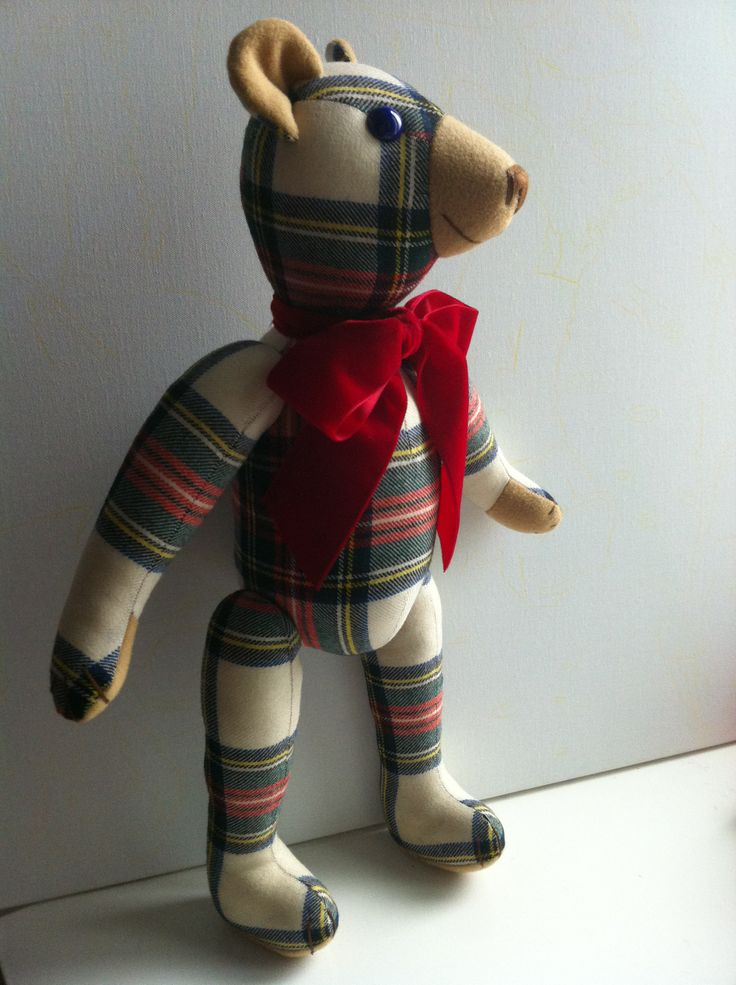 White Scottish Style Teddy Bear with velvet lace... BY GSBears, Barcelona
