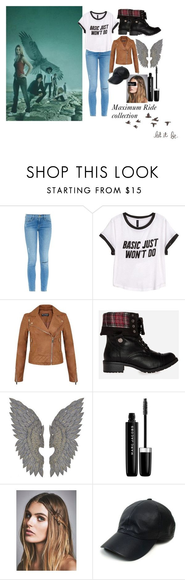 """Maximum Ride"" by walking-in-the-wind ❤ liked on Polyvore featuring Frame Denim, H&M, Miss Selfridge, DailyLook, Marc Jacobs, Free People, Vianel, maximumride and jamespatterson"