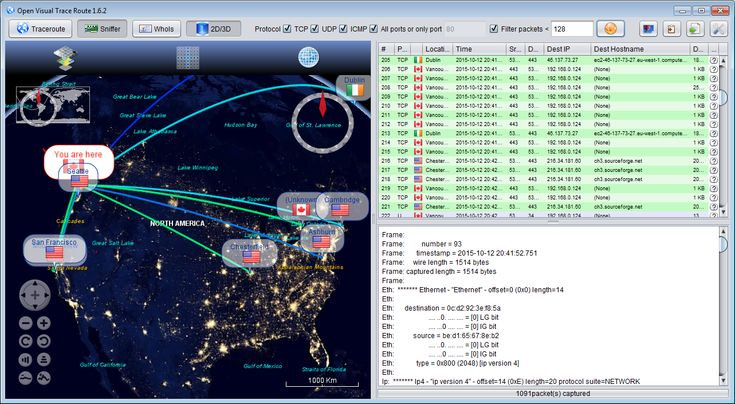 Open Visual Traceroute 1.6.5 for Windows Open source cross-platform (Windows/Linux/Mac) Java Visual Traceroute, packet sniffer and Whois. Data is displayed in a 3D or a 2D map component.  #computers #software #freeware #opensource