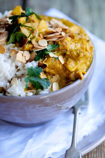 Nigella's Mughlai Chicken with cumin, coriander, and ginger - substitute chicken for Quorn fillets and stock for veggie stock