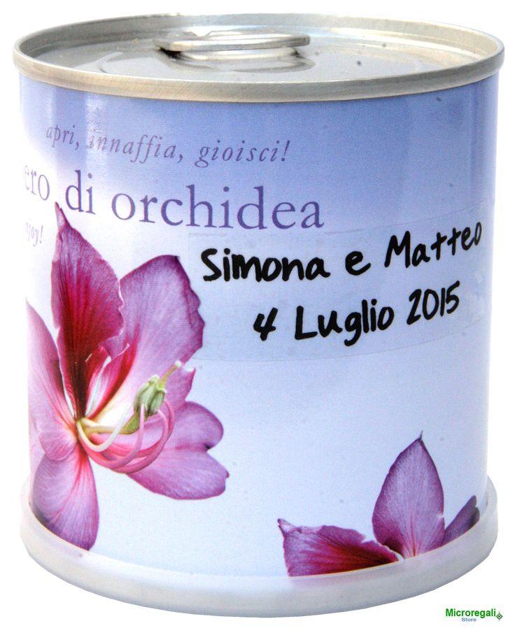 Bomboniere naturali personalizzabili fiori in lattina ORCHIDEA