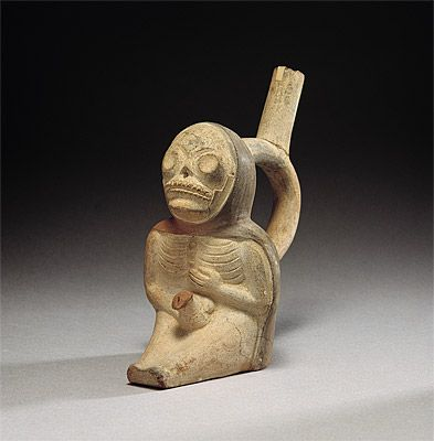 | Stirrup vessel in the form of a dead man masturbating