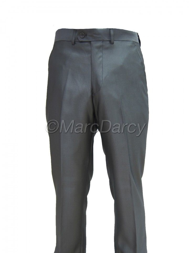 Mens Two tone Shiny Grey Plain Front Regular Fit Trousers