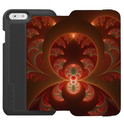 Luminous abstract modern orange red Fractal iPhone 6/6s Wallet Case - cool gift idea unique present special diy