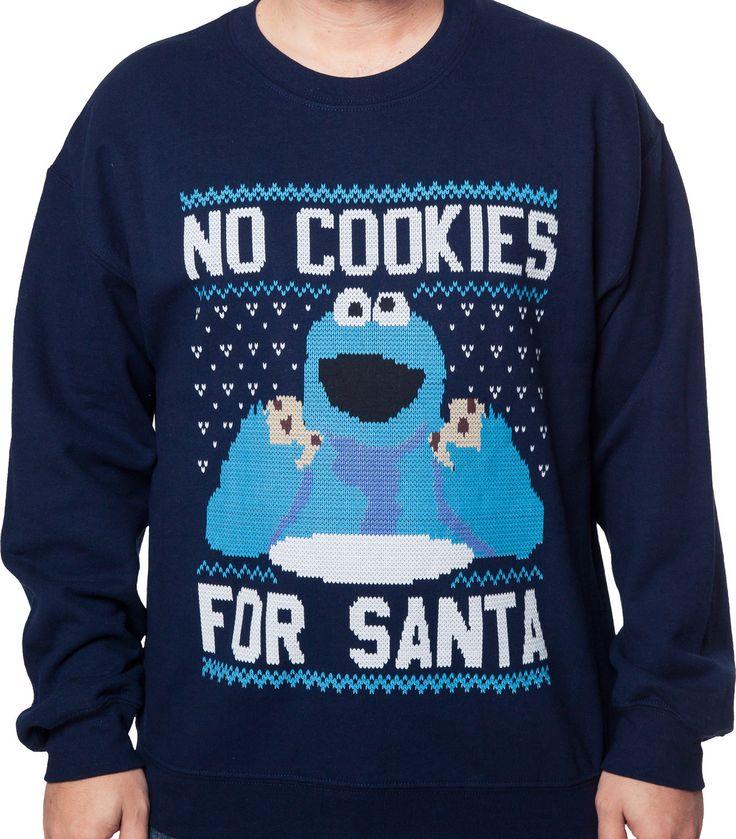 Cookie Monster Faux Christmas Sweater: Sesame Street Mens Sweatshirt