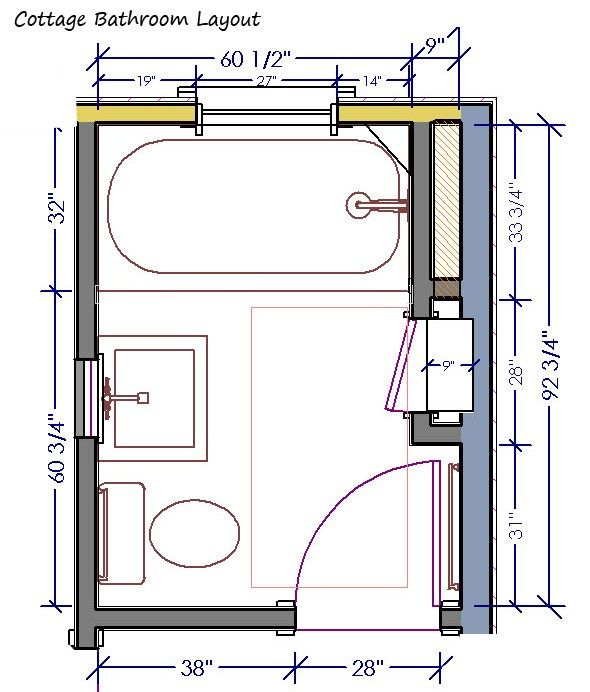Best 25 5x7 bathroom layout ideas on pinterest box for Small 3 4 bathroom floor plans