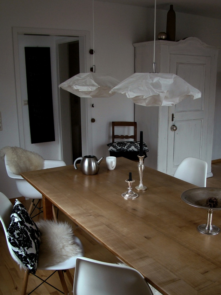 Dining Room: Again, with the rustic table and newer chairs. Pillow-lights are an exception.
