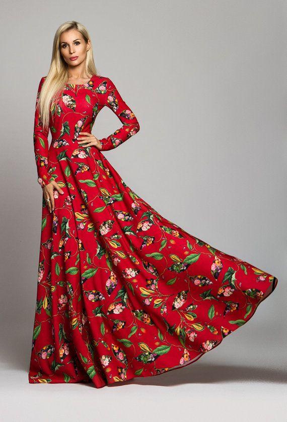 Red Floral Dress Maxi Dress Elegant dress by AugustVanDerWalz