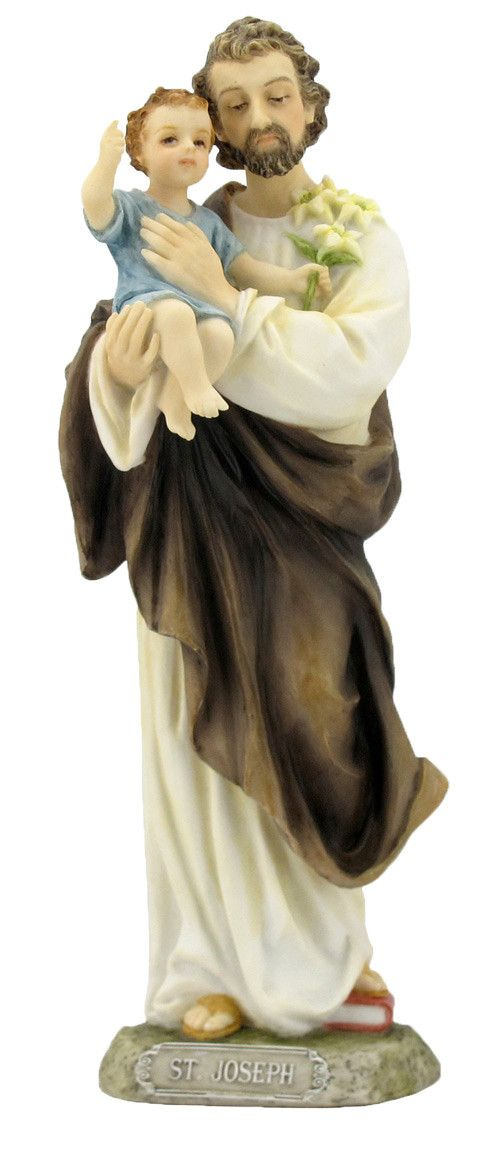 "Saint Joseph and Child Jesus statue. Beautiful hand painted statue of the father of Jesus. Veronese Collection Made of resin and hand painted. Measures at 8"" tall."