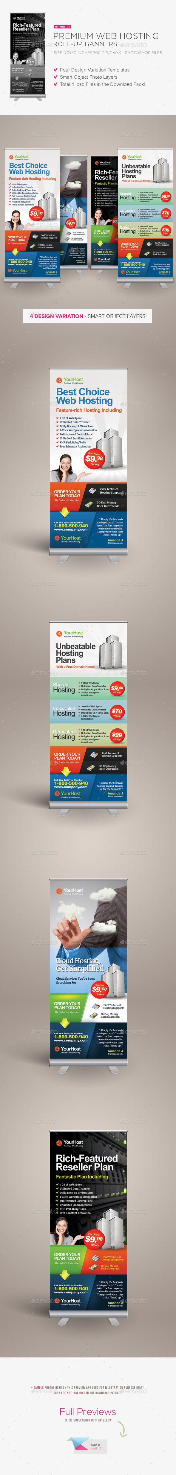 Premium Web Hosting Rollup Banners — Photoshop PSD #web-hosting #x-banner • ...