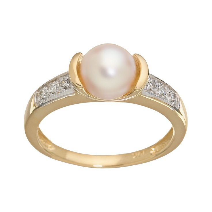 PearLustre by Imperial 10k Gold Channel-Diamond Freshwater Cultured Pearl Ring, Women's, White