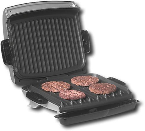 George Foreman - Grill with Removable Grill Plates - Metallic Silver