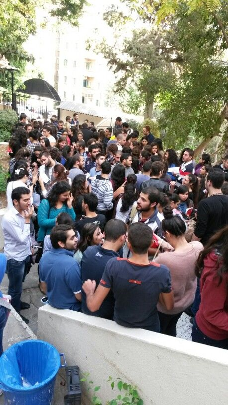 Lebanese University - Students going out from exam, and in the same time students entering an exam. Although they give 15 min between these two actions, but they are always students that rush and  enter when others are leaving dunno why ... this is the result :D