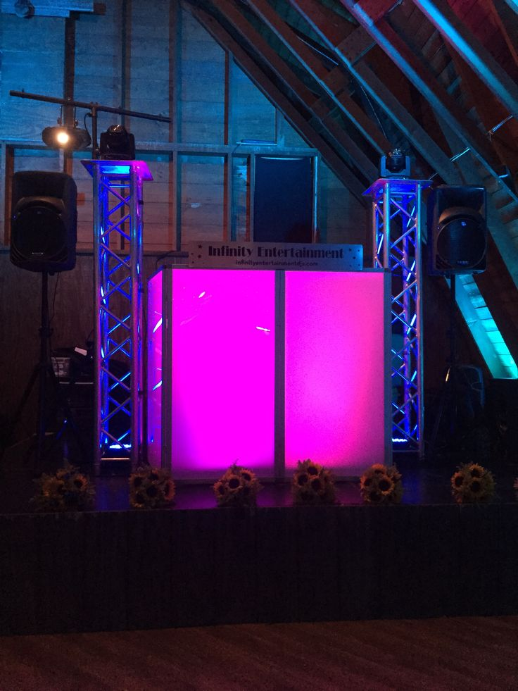 average price for wedding dj in new jersey%0A DJ Setup  The Barn at Perona  Lighting  DJ  rustic  sunflowers