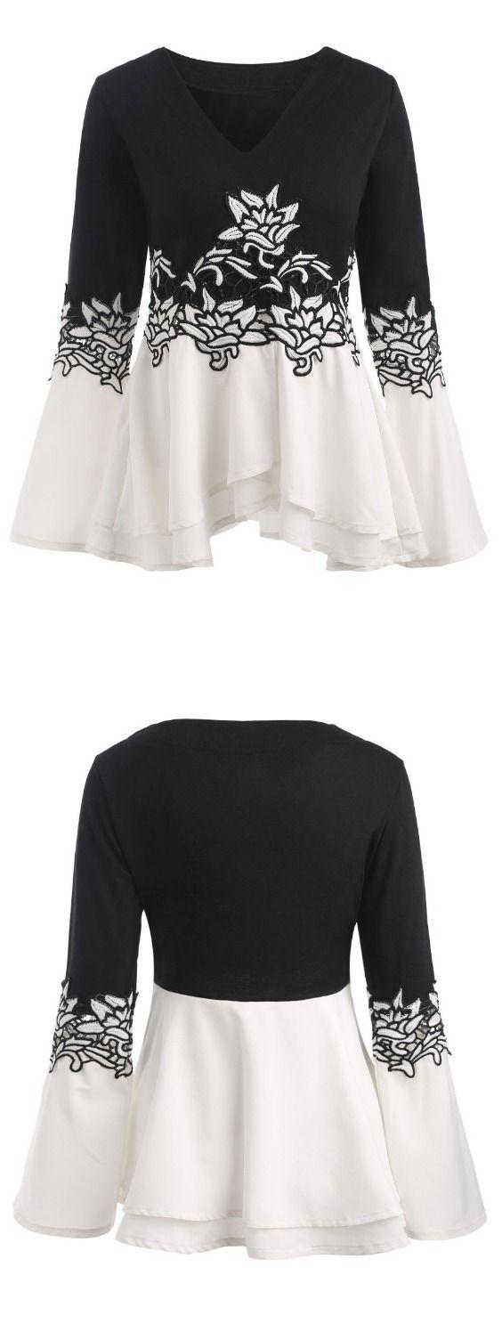 Embroidered Bell Sleeve Peplum T-shirt