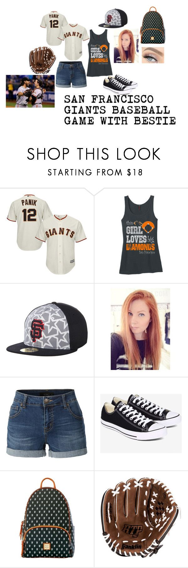"""""""~SF GIANTS GAME WITH BESTIE~"""" by sammmshall ❤ liked on Polyvore featuring LE3NO, Converse, Dooney & Bourke and Franklin"""