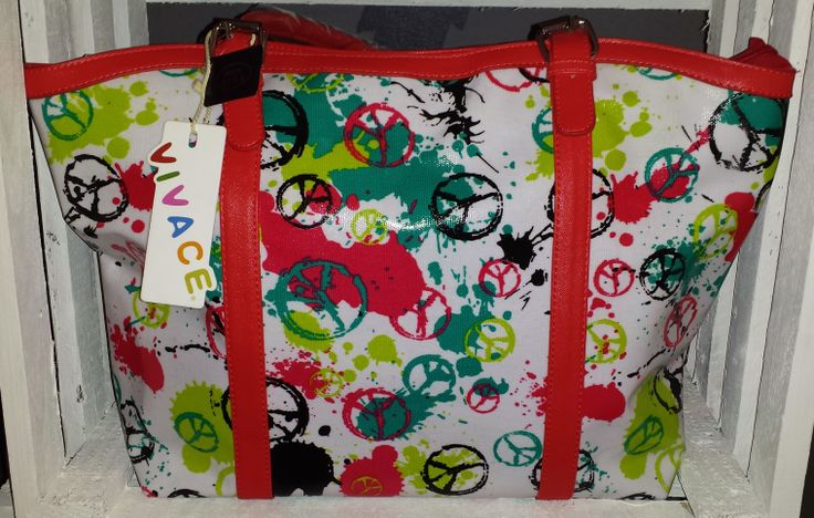 Like peace signs? Don't miss out on this bright plastic covered bag @ only R399  https://www.facebook.com/DanglingDiva?ref=hl