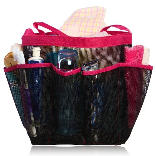 Shower Caddy - Perfect For College & Dorm - Large Pockets To Carry Your Bathroom Accessories & Mirror - Non Stainless Steel Full Mesh Material That Is Rustproof Even If You Throw It In A Corner - Buy With Confidence With Our If It Rips We Replace It Free Guarantee! (Pink) miQQi Living,http://smile.amazon.com/dp/B00FRIYALK/ref=cm_sw_r_pi_dp_.0vDtb0ASX200PXN