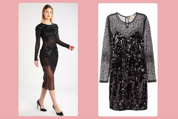 Elisabetta Franchi black cocktail dress (€1049) vs.  H&M Short sequined dress  (€69,99)